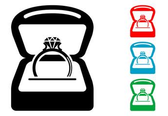 Pictograma anillo con diamante con caja con varios colores