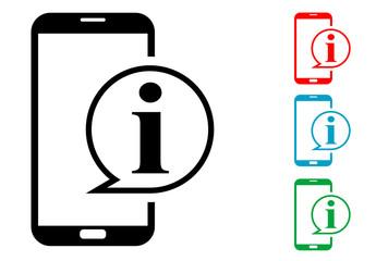 Pictograma informacion smartphone con varios colores