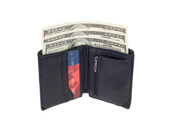One hundred dollar banknotes in black wallet, isolated on white