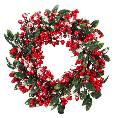 Christmas wreath isolated on the white background