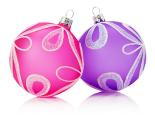 pink and purple Christmas balls isolated on the white background