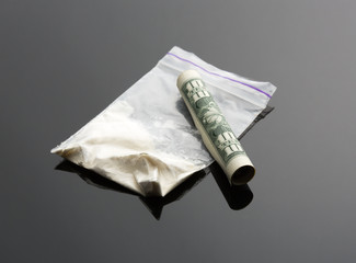 Cocaine in package and one dollar bill