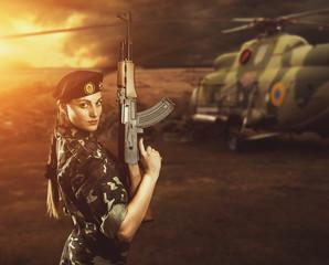 Soldier woman on the battle field