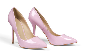 A pair of pink women's heel shoes isolated with clipping path.