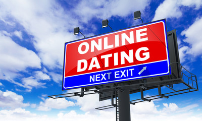 Online Dating  Inscription on Red Billboard.