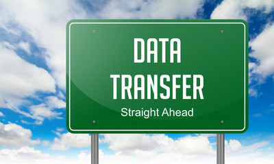 Data Transfer on Highway Signpost.