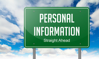 Personal Information on Highway Signpost.