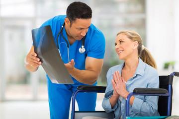 senior disabled woman begging doctor