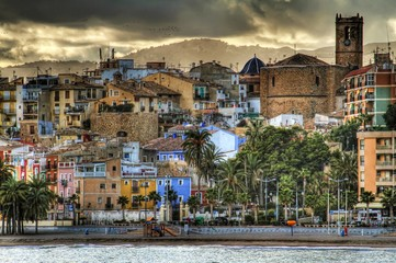HDR. Colored houses of Villajoyosa town in Spain.