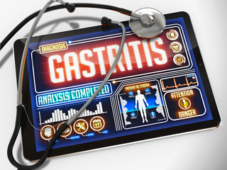 Gastritis on the Display of Medical Tablet.