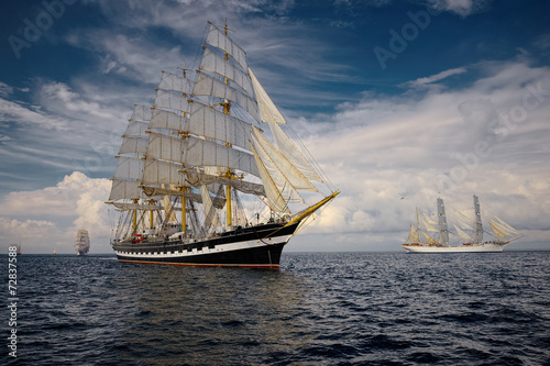 Sailing vessel. Collection of ships and yachts Poster