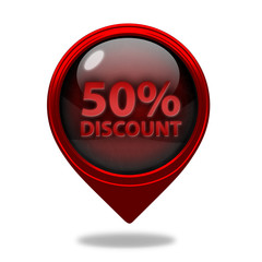 Discount 50 pointer icon on white background