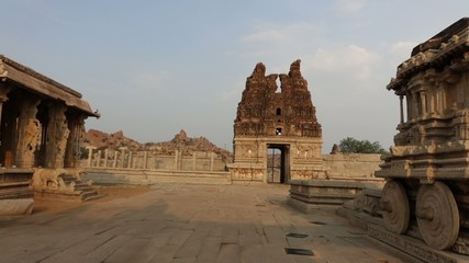 Pan to the stone chariot in Vittala Temple