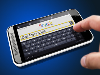 Car Insurance in Search String on Smartphone.