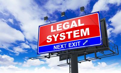Legal System Inscription on Red Billboard.