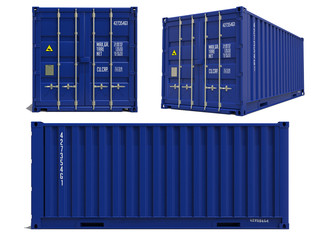 Blue Container in 3D Isolated on White.