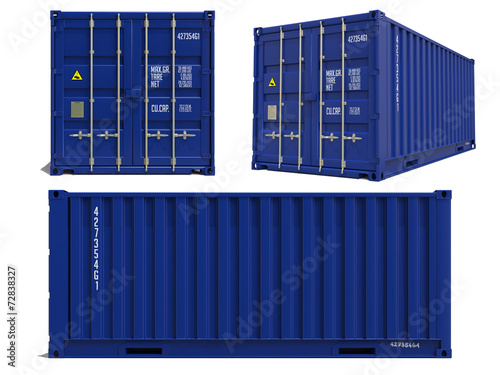 Blue Container in 3D Isolated on White. - 72838327