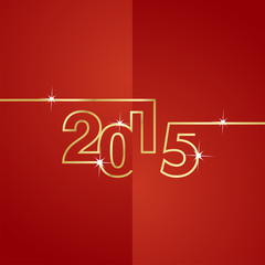 Gold line 2015 red background vector