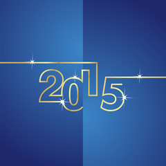 Gold line 2015 blue background vector