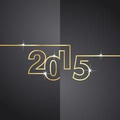 Gold line 2015 black background vector