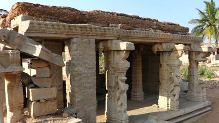 Ruins of temple in Hampi in India