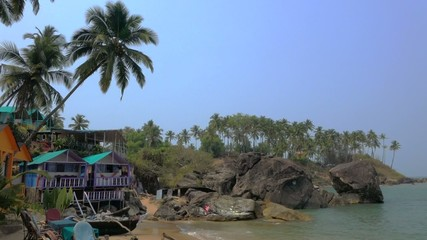 Palolem beach with cottages
