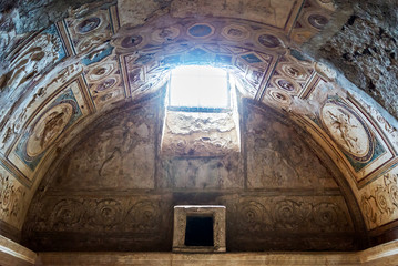 The interior of the baths in Pompeii, Italy