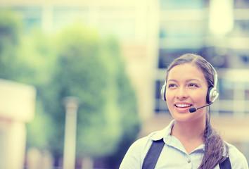 customer service representative with phone headset device