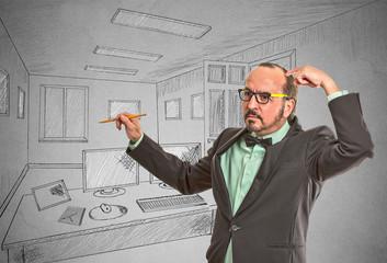man graphic designer drawing sketch of future apartment