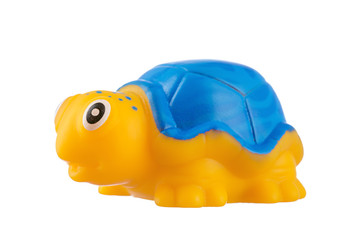 Yellow rubber turtle on White Background