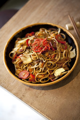 Japanese noodles with meat, shrip and vegetable