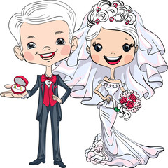 Vector Cute bride and groom
