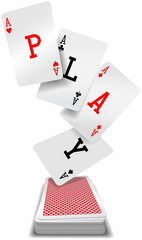 Play cards aces poker hand deck