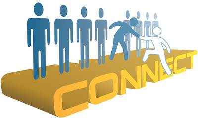 Hand help up connect to join people group