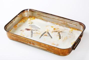 Duck fat in roasting pan
