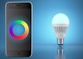 Multicolor LED bulb with remote control by phone