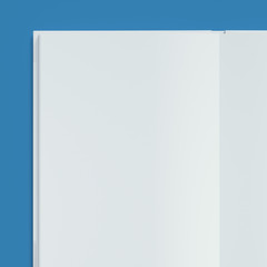 Opened book on blue background