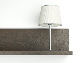 Dark shelf on the wall with lamp