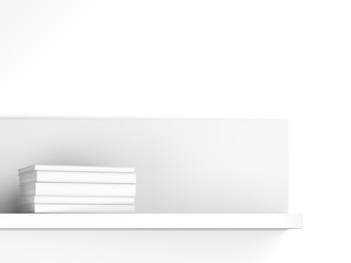 shelf with white books