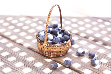 Fresh blueberries on wooden table