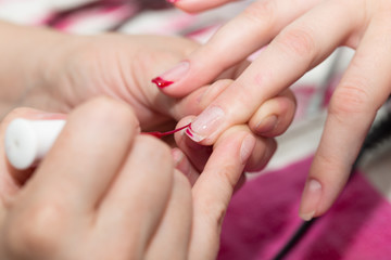 manicure in salon