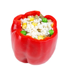 Pepper prepared for cooking stuffed paprika with raw meat and