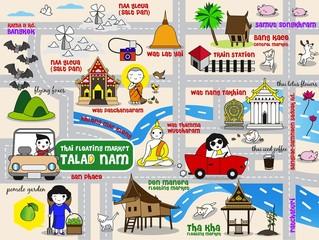 Thai Floating Market Guide Map illustration set