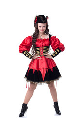 Lovely girl posing in pirate costume on Halloween