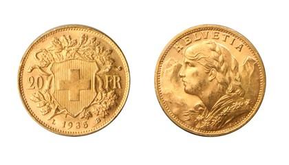 Switzerland 1935 20 Francs coin