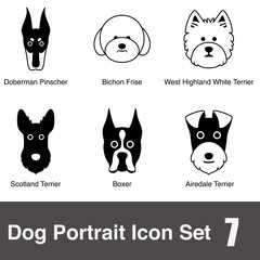Dog character flat icon design