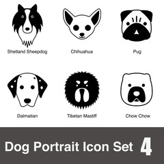 Dog face character flat icon design