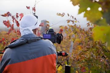 Videographer shoots at the camera