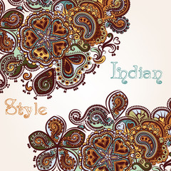 Fashion background with swirl ornament in Indian style