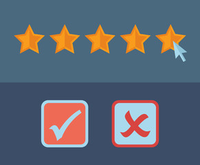 Concept for customer review. Check list icons.
